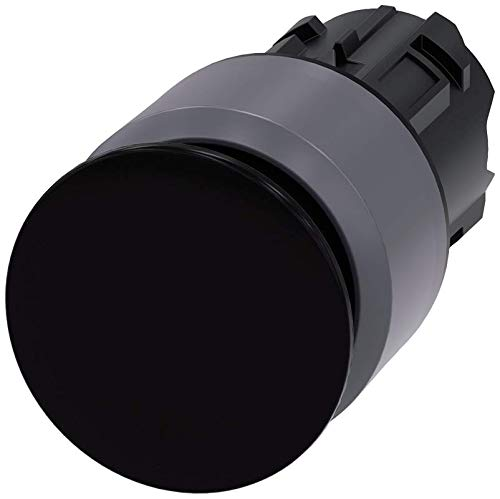30mm 22mm Matte Metal IP67 Siemens 3SU10301AA100AA0 Mushroom Pushbutton Black Siemens Industry 3SU1030-1AA10-0AA0 IP69K Protection Rating Plastic with Metal Front Ring IP66