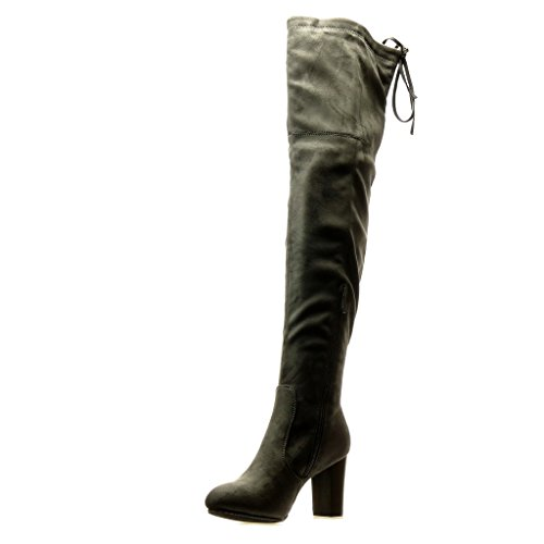 Angkorly - Zapatillas Moda Botas Altas Botas sexy flexible mujer nodo Talón Tacón ancho alto 8.5 CM Gris