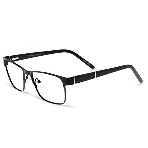 - OCCI CHIARI Mens Rectangle Eyewear Full-Rim Metal Non-Prescription Clear Optical Glasses Black