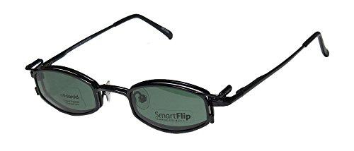 SmartFlip 451 Mens/Womens Designer Full-rim Sunglass Lens Clip-Ons Spring Hinges Eyeglasses/Glasses (42-21-130, Matte Black) by SMART STOCK