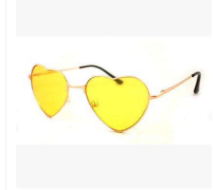 Gafas Montura Forma con Diseño Mujer para Sol metálica de de amarillo Forma con con corazón Cristoferv corazón de dHnOUxqIww