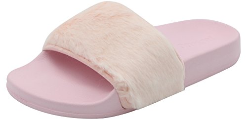 Pink Trim Slip Ons - ROWOO Women Slip on Faux Fur Trim Flat Slipper Sandals (9 US/40 EU, Pink)