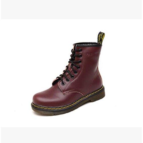 HSXZ Zapatos de Mujer Otoño Invierno PU Confort botas de tacón Chunky Round Toe botines/botines para ocasionales de vino blanco negro gris marrón Wine