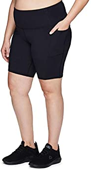 RBX Active Women's Plus Size Fashion Athletic 9-Inch Inseam High Waist Workout Yoga Bike Short with Poc