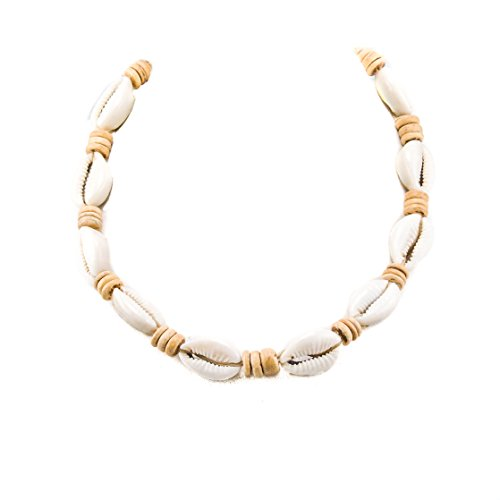 BlueRica Cowrie Shells on Hemp Cord Choker Necklace with Tan Coconut Wood -