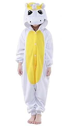 Newcosplay Homewear Childrens Unicorn Pajamas Sleeping Wear Animal Onesies Cosplay Costume (115#, Yellow Unicorn)