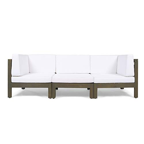 Great Deal Furniture Keith Outdoor Sectional Sofa Set | 3-Seater | Acacia Wood | Water-Resistant Cushions | Gray and White