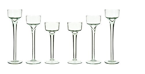 - Long Stem Glass Tealight Candleholders Home Decor Special Events & Holidays Set of 6 by GB