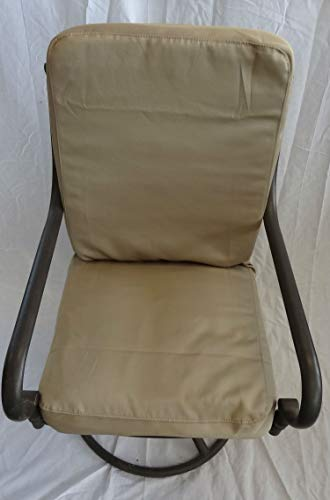 Patio Dining Chair Cushion Covers, Set of 6 for 6 Chairs. Max 20 x 20 x 4 Cushion Size. Top and Bottom Cushions in Same Tan Twill Covers. Machine Washable NO Inserts ()
