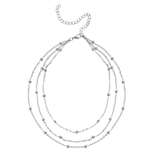 Multi Gemstone Journey Pendant - Topgee Choker Necklace for Women Long Star Tassel Pendant Chain Necklaces Fashion Jewelry Simple Round Diamond Necklace Multi-layer Alloy Chain Clavicle Chain