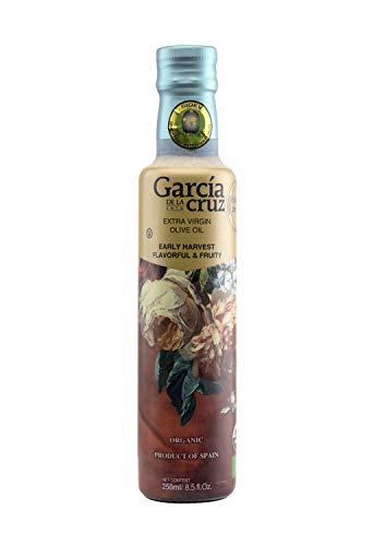 Garcia de la Cruz Early Harvest Organic Extra Virgin Olive Oil - Award-Winning from Toledo Spain - Glass 8.5 fl. oz. (250 ml)