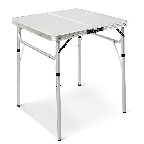 REDCAMP Small Square Folding Table 2 Foot, Adjustable Height Lightweight Portable Aluminum Camping Table for Picnic Beach Outdoor Indoor, White 24 x 24 inch (Top Inch 24 Table Square)