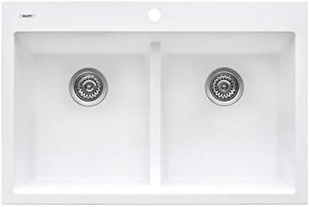 Ruvati 33 x 22 inch epiGranite Dual-Mount Granite Composite Double Bowl Kitchen Sink – Arctic White – RVG1385WH