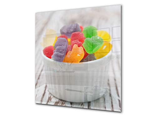(Stunning printed Glass backsplash – Tempered glass kitchen wall panel BS06 Pastries and sweets: Colorful Jelly Beans 1)