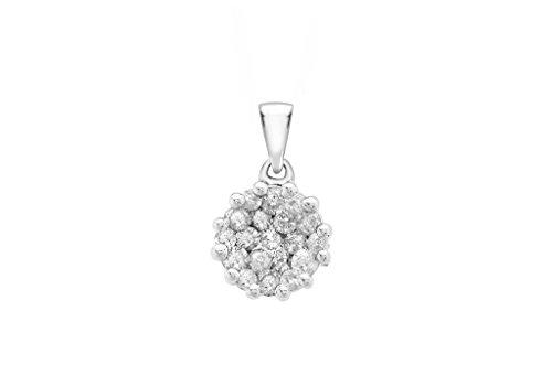 0,5carat or blanc 9ct Diamant Pendentif Grappe