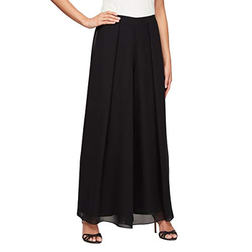 Alex Evenings Women's Dress Pants (Petite and Regular), Black Wide Leg Georgette Hem, L - Front Georgette Dress