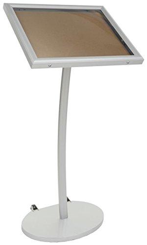 Displays2go Menu Display Stand, Cork Board, Waterproof, UV Inhibitor Lens, Wheels, Silver (ODCRK598SL)