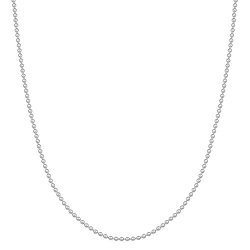 Kooljewelry 14k White Gold Shiny Ball Chain Necklace (1 mm Thick, 18 inch)