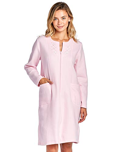 Casual Nights Women's Long Sleeve Zip Up Front Short Fleece Robe - Pink - X-Large