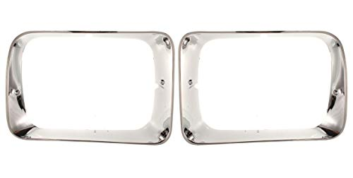 OE Replacement New Chrome Headlight Bezels Trim Set Direct Replacement for 1992-1993 Dodge D150 D250 D350 Truck W150 W250 W350 Ramcharger (Partslink Number CH2512118, CH2513118)