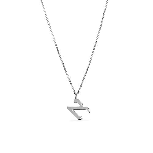 (Initial pendant necklace Aleph hebrew letter bar bat mitzvah personalized gift 92 5 sterling silver )