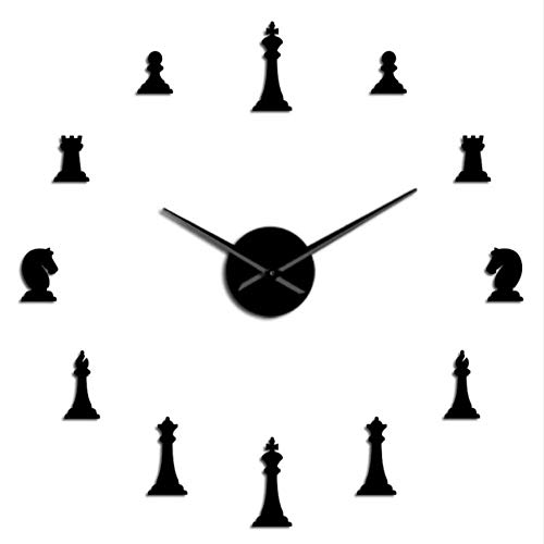 MMLUCK Chess Pieces King Queen Bishop Knight Rook Pawn Parlor Game DIY Big Wall Clock Chessman Stickers Wall Watch Chess Player Gifts (Black) 27inch ()