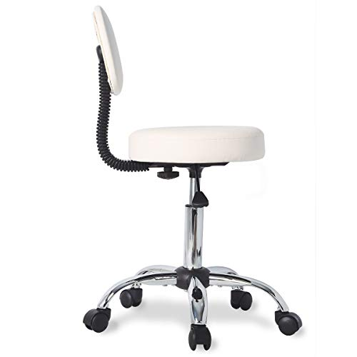 UREST Spa Stool Chair with Back Adjustable Hydraulic Rolling Swivel Drafting Office Chair with Wheels in Beige -