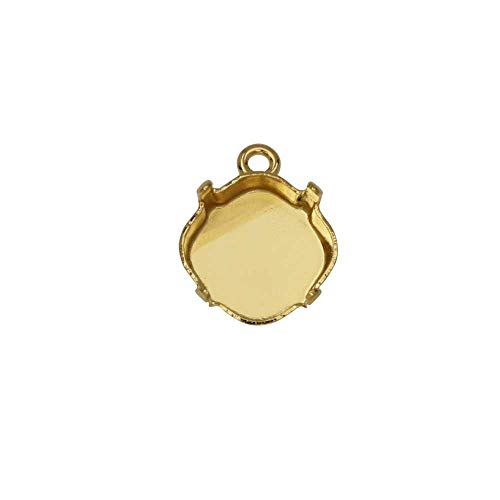 (Gita Jewelry Stone Setting for Swarovski Crystal, Square Pendant Base for 10mm Cushions, 1 Piece, Gold Plated)