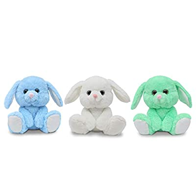 Fluffuns Bunny Stuffed Animals - 3-Pack of Stuffed Bunny Plush Toys in 3 Colors, 9 Inch Easter Bunny Rabbit Plushes (Blue, Green & White): Toys & Games