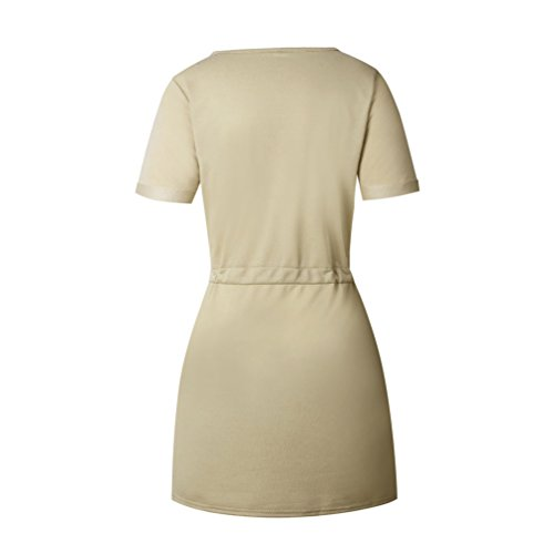 NiSeng Mujeres V-Cuello Slim Vestidos Verano Color Sólido Mini Vestido Bodycon Vestidos Fiesta Cortos Caqui
