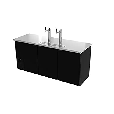 """Direct Draw Beer Cooler, 80"""", three?section, (3) solid doors, (2) stainless steel draft towers with dual taps, (4) keg capacity, Asber ADDC-78"""