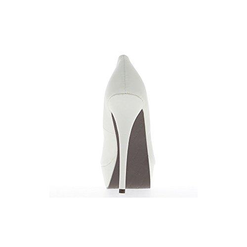 Escarpins femme grande taille blancs à talons de 15cm et plateforme de 4cm