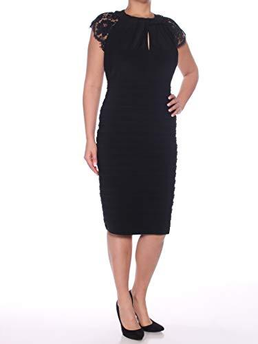 Betsy & Adam Womens Plus Shutter Pleat Special Occasion Dress Black 14W