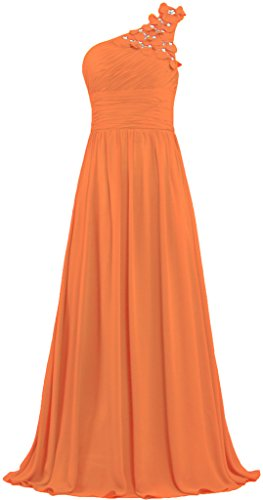 One Flowers Shoulder Formal Orange Prom ANTS Dresses Long Bead Evening Gowns ZqPpE6