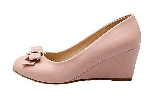 AgooLar Damen Ziehen auf Mittler Absatz PU Rein Rund Zehe Pumps Schuhe Pink