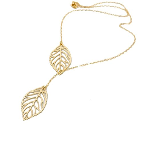 ecklace Daoroka Simple Metal Double Leaf Pendant Alloy Choker Necklace Silver Jewelry Silver (Gold) ()