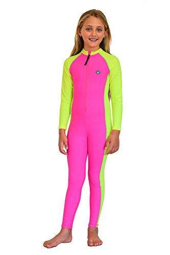 Full Body Suits For Kids (Girls Full Body Swimsuit Stinger Suit Sun Protection UPF50+ Pink Yellow 8)