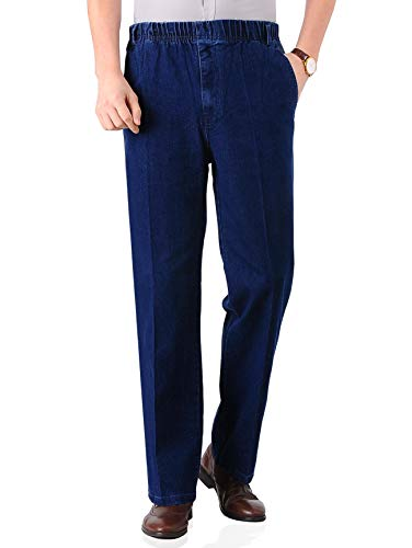 Soojun Mens Seniors Casual Loose Fit Elastic Waist Denim Pants, Deep Blue, 34W x 32L ()