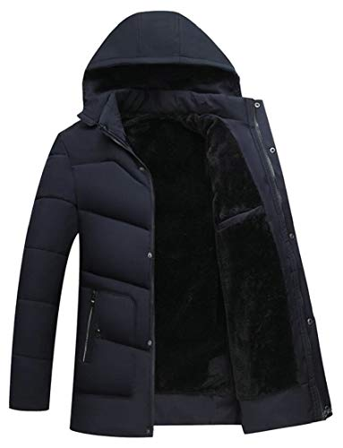 Blue Jacket Warm Fur Thick Coat Mens Padded Winter TTYLLMAO Hood Navy Down Zip Front Faux Lined 7w1ZSxHq