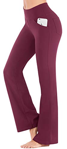 IUGA Bootcut Yoga Pants with Pockets for Women High Waist Workout Bootleg Pants Tummy Control, 4 Pockets Work Pants for Women, Golf Pants 7810 US (Maroon, Large) ()