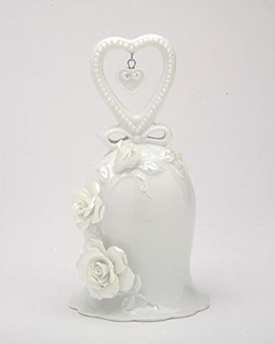 (ATD 5 Inch Rose Flower Heart Decorative White Porcelain Bell Figurine)
