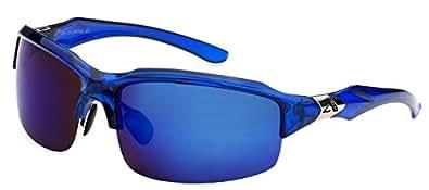 Arctic Blue Mens Fashion Sports Wrap Sunglasses - Blue Revo Lens - Fishing, Baseball, Boating, Skiing - Several Colors Available! (All Blue)