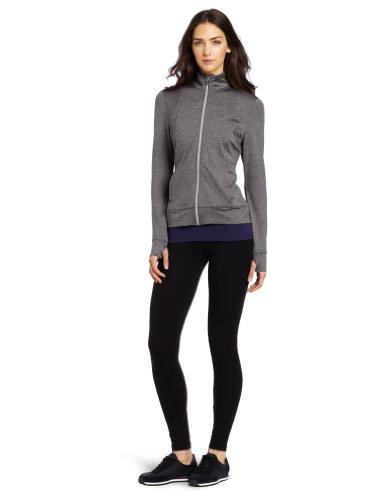 Danskin Women's Ice Stripes Zip Front Jacket, Charcoal Heather/Blue, Large