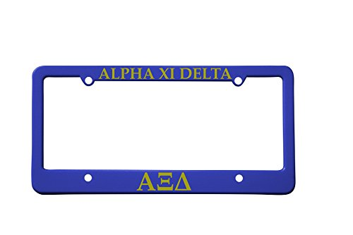 Officially Licensed Alpha Xi Delta License Plate Frame - Blue with Gold - Frame Plate Delta License