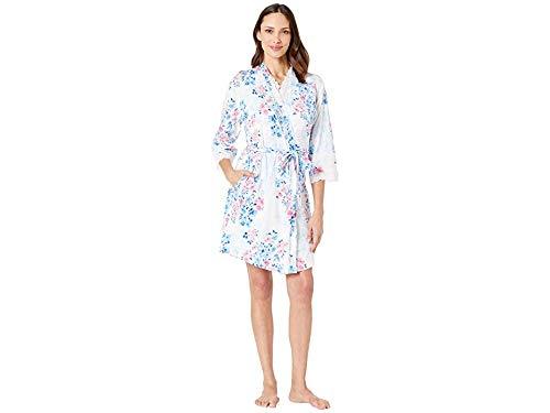 Carole Hochman Floral Jersey - Carole Hochman Women's Travel Set Short Wrap Robe & Short Gown Pink & Blue Watercolor Floral X-Large