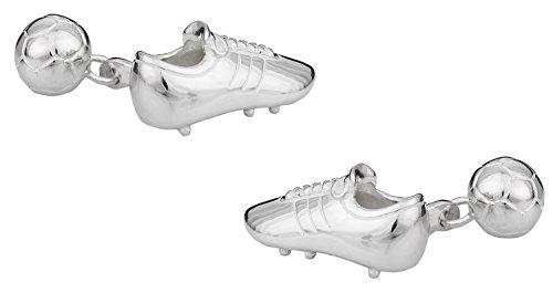 Cuff-Daddy Solid 925 Sterling Silver Soccer Futbol Ball Shoe Cufflinks with Presentation Box - Silver Tone Sterling Silver Cufflinks