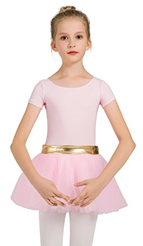 DANSHOW Girls' Short Sleeve Tutu Leotards for Dance Ballet with Puffy Skirt and Shiny -