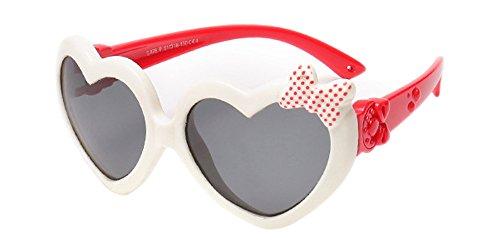 XFentech Unisexe Enfants Polarisées Lunettes de Soleil pour Garçons & Filles Mignonne Monture en caoutchouc flexible Sport Lunettes Blanc/Rouge
