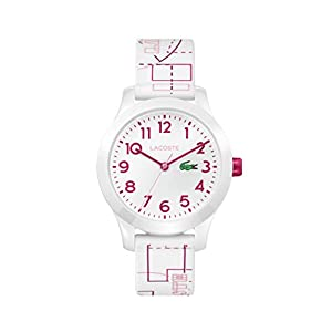 Lacoste Kids' TR90 Quartz Watch with Rubber Strap, White, 14 (Model: 2030009)