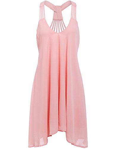 Romwe Women's Summer Sexy Sleeveless Backless Swing Party Dress Pink L